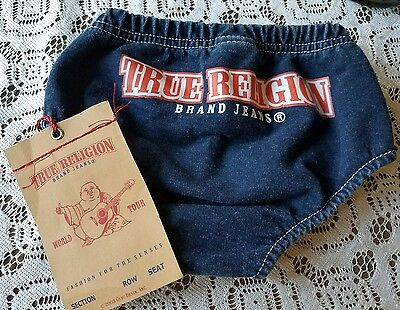 Infant Denim True Religion Diaper Cover Unisex Size 6-12 Months New With Tags