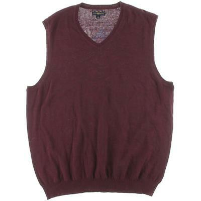 Club Room 9612 Mens Red Cotton V-Neck Knit Sweater Vest Top M BHFO