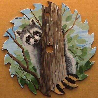 Hand Painted Saw Blade Raccoon Up a Tree Cabin Lodge Hunting Country Decor