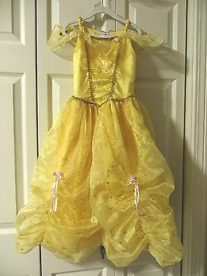 Disney   Deluxe  Princess  Belle   Yellow  Ball  Gown  Costume  Size  S (5-6)