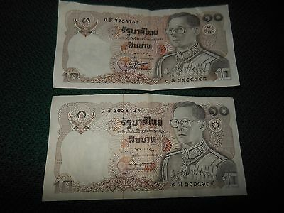 2 Thailand 10 Baht Bank Note's Crisp But Have Been Folded