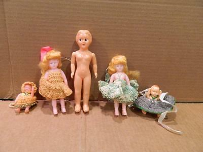 5 Mixed Sized Girl Dolls in Hard Plastic or Celluloid Crocheted Dresses 1950's