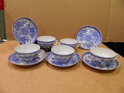 5 Porcelain Hand Painted Cup & Saucer Asian Blue/White Antique