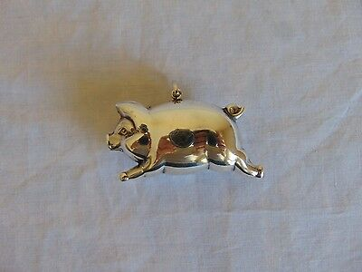 Vintage RM Trush Sterling Silver Miniature Farm Pig Figural Christmas Ornament
