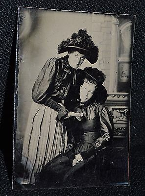 Beautiful LADIES WITH A LETTER Tintype Daguerreotype Antique photo