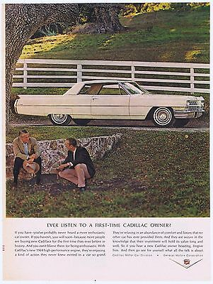 1964 White Cadillac First Time Owner Classic Vintage Original Photo Print Ad
