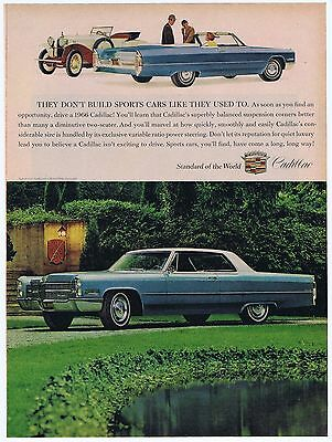1966 Blue Cadillac Standard Of The World Vintage Original Illustrated Print Ad