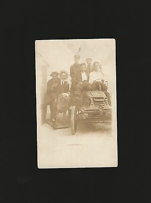 Vintage RPPC strange antique Car dog & driver real photo pc group photograph