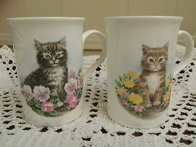 Crown Trent Fine Bone China kitten mugs, England