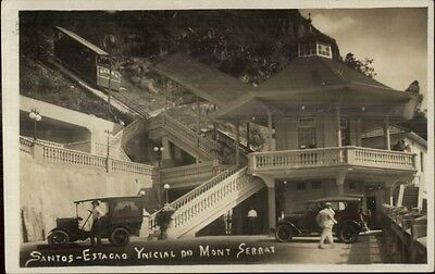 Santos Brazil Estacao Ynicial do Mont Serrat Incline RR & Car RPPC Postcard