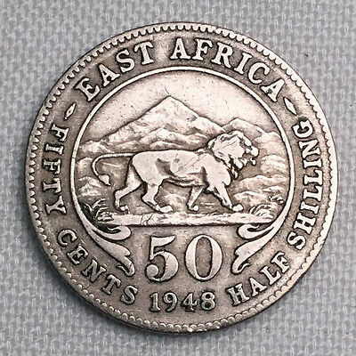 1948 British East Africa 50 Cents (1/2 Shilling) #CH91