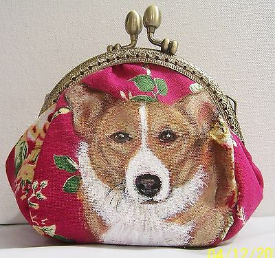 "Corgi hand painted super fancy floral canvas make up purse bag gift 5""x5""x3"""