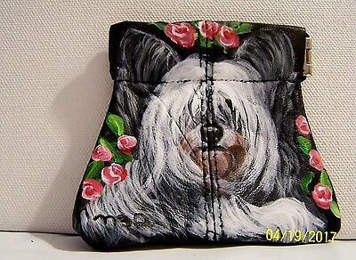Skye Terrier original hand painted genuine leather squeeze coin purse