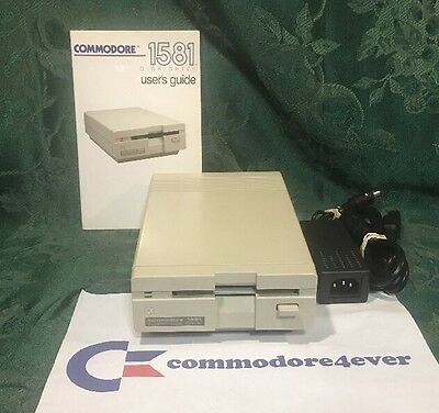 """COMMODORE 1581 3.5"""" Floppy Drive 64 128 with JiffyDOS Power Supply **VERY CLEAN*"""