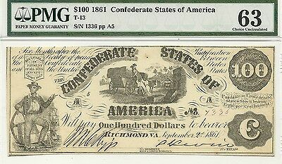 1861 $100 Confederate Currency ~ T-13 ~ Slaves Load Cotton ~ Pmg Choice Unc 63