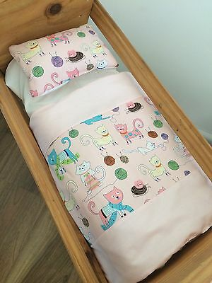 Small Dolls Bed set-Pink Kittens. For little basket, bassinet or crib