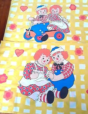 Set of 2 Vintage Raggedy Ann & Andy Pillowcases I Love You Wamsutta Ultracale