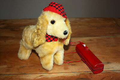 VINTAGE Walking & Barking Plush Tin Dog Toy Battery Operated - Japan