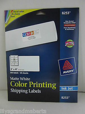 """Avery 8253 Color Inkjet Labels Matte White Rectangle 2""""x4"""" 200 Labels - New"""