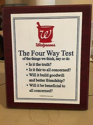 "Walgreens The Four Way Test Plaque 9""X11"""