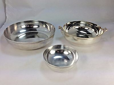 Three Vintage Elegant Christofle Silver-Plated Neoclassical Serving Bowls France