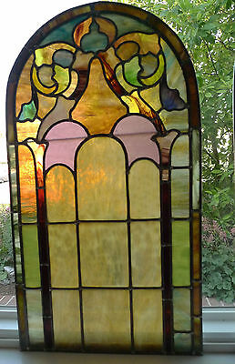 """Antique Lead Stained Glass Window Arched Top Opalescent Pastels 33 3/4""""x18"""""""