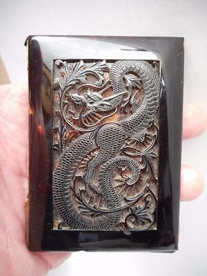 Antique Chinese Carved Calling Card Case with DRAGON