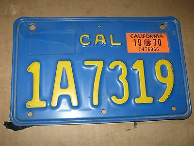 1970 California  Motorcycle License Plate