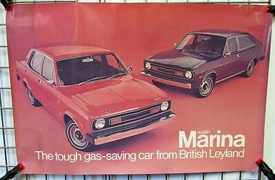 Vintage British Leyland Austin Marina Dealer Showroom Large Poster Foreign