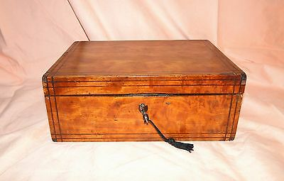 Lovely Vintage Antique Wooden Inlaid Box For Your Treasures W Mirror And Key