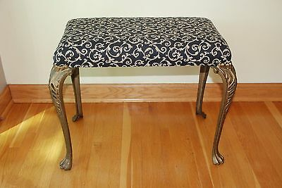 Vintage Decorative Wrought Iron Vanity Piano Bench Art Deco Style Cloth Seat