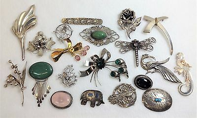 Lot of 20 Vintage & Antique STERLING SILVER Mixed Theme & Design Brooches-252 GR
