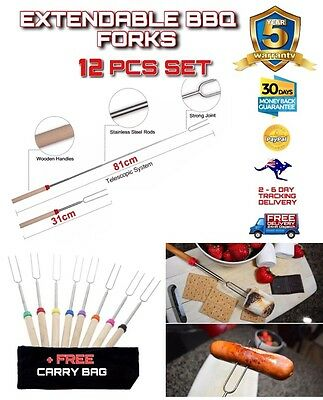 12 PCE Telescopic Roasting Marshmallow Barbecue BBQ Skewers Fork +FREE CARRY BAG