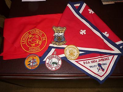 Boy Scouts Of America Valley Forge 1964 Jamboree Neckerchief, Asstd Patch Badges