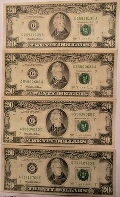 1995 United States Federal Reserve $20 Notes: Lot of 4