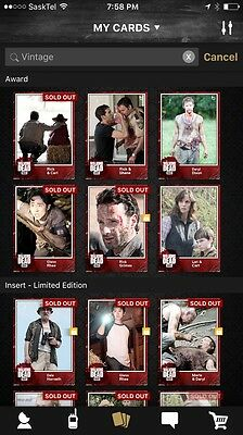 Topps Walking Dead Card Trader Vintage 2 Wave 1,2,3 And Awards 30 Cards Complete