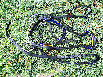 Dressage Bridle with Bit, new Reins and Bag, black w blue/yellow piping, VGC