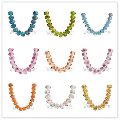 6pcs Rondelle Faceted Glass Crystal Rose Flower Inside Lampwork Bead Spacer 12mm