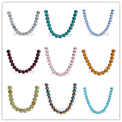 8mm Glass Crystal Bead Ball Loose Spacer Beads Jewelry Making 96 Faceted Crafts