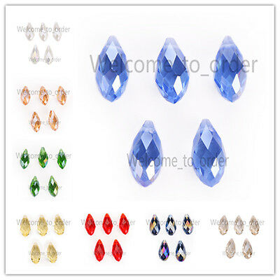 8x16mm Charms Faceted Glass Crystal Teardrop Pendant Finding Loose Spacer Beads
