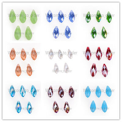 10pcs Charms Faceted Glass Crystal Teardrop Pendant Finding Loose Spacer Beads