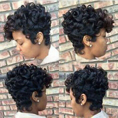 Women Short Black Brown Front Curly Synthetic Hair Wigs For Black WOmen New