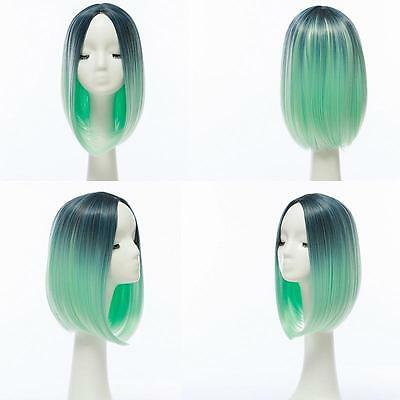 Heat Resistant Synthetic Front Ombre Wigs Long Straight Bob Black&Green Wigs