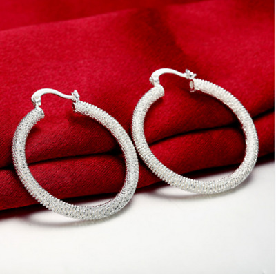 Womens 925 Sterling Silver Round Vogue Mesh Band Hoop Fashion Earrings #E26