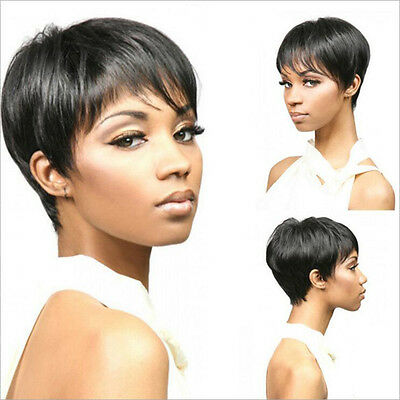 Fashion Short Cut Straight Layered Synthetic Wig Black Full Hair For Women Hot