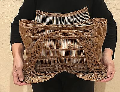 Giant Hupa Yurok Karok Native Indian Wall Pocket Basket Wicker Very Old & Huge!!