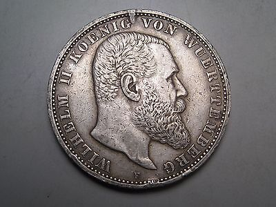 GERMAN State-WURTTEMBERG 1913 F 5 Mark Silver. #20
