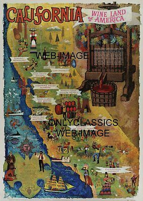 California Wine Land Of America Advertising Travel Poster Ca Art Map Vineyard 01