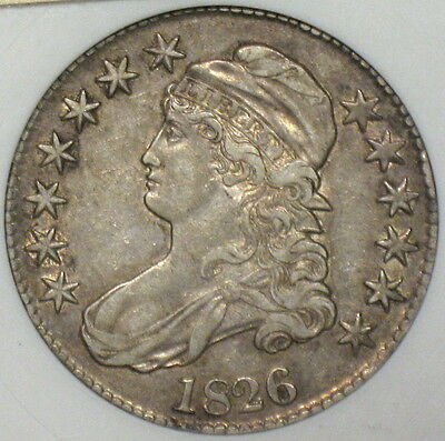 1826 Capped Bust Half Dollar, O-109 R1, Anacs Ef 45, Nice! Old Collection Sale!