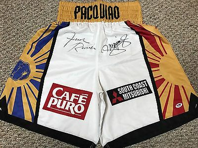 MANNY PACQUIAO FREDDIE ROACH SIGNED AUTO BOXING SHORTS TRUNKS Bradley PSA PROOF